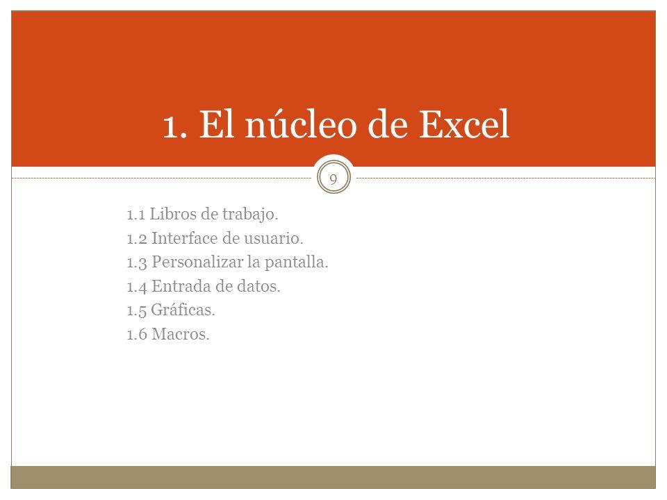 1. El núcleo de Excel 1.1 Libros de trabajo. 1.2 Interface de usuario.