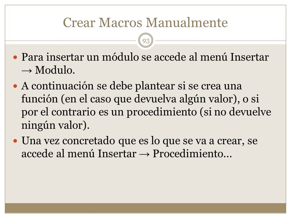 Crear Macros Manualmente