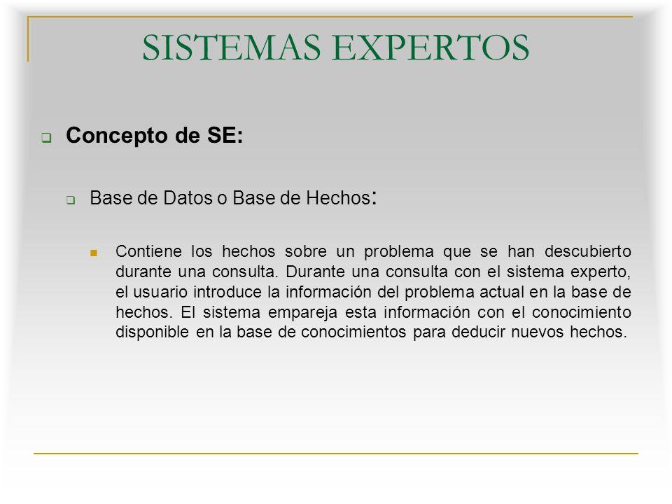 SISTEMAS EXPERTOS Concepto de SE: Base de Datos o Base de Hechos: