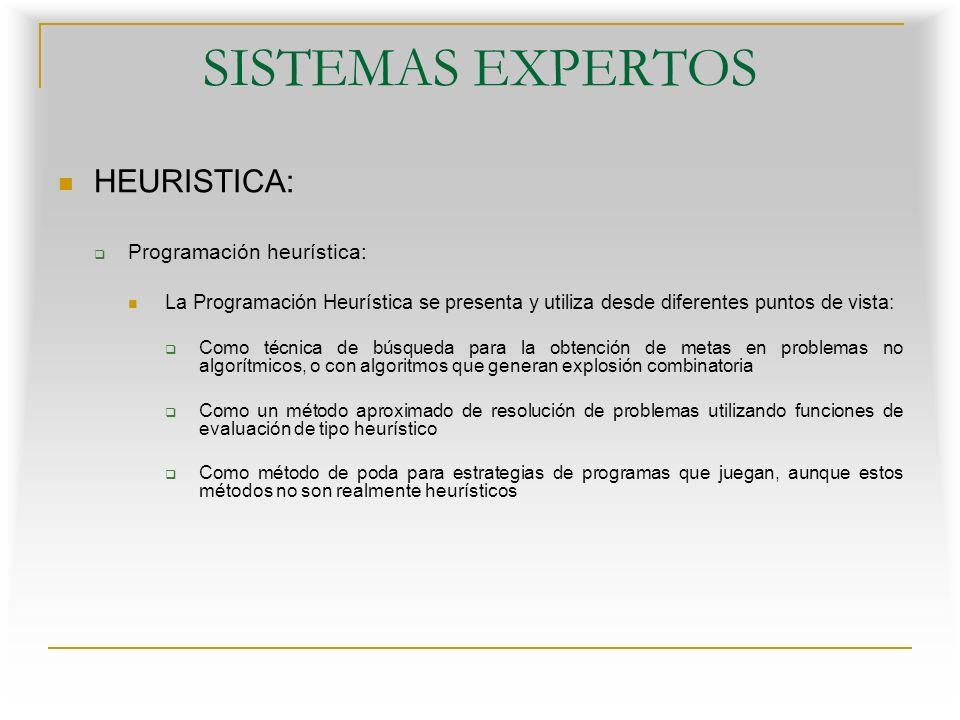 SISTEMAS EXPERTOS HEURISTICA: Programación heurística: