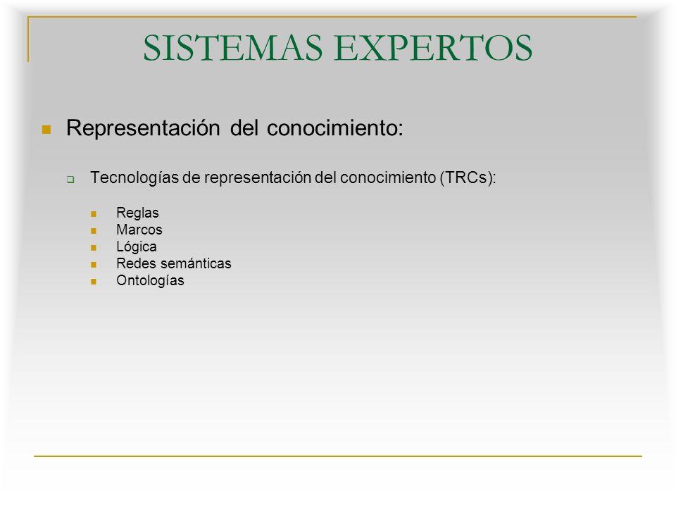 SISTEMAS EXPERTOS Representación del conocimiento: