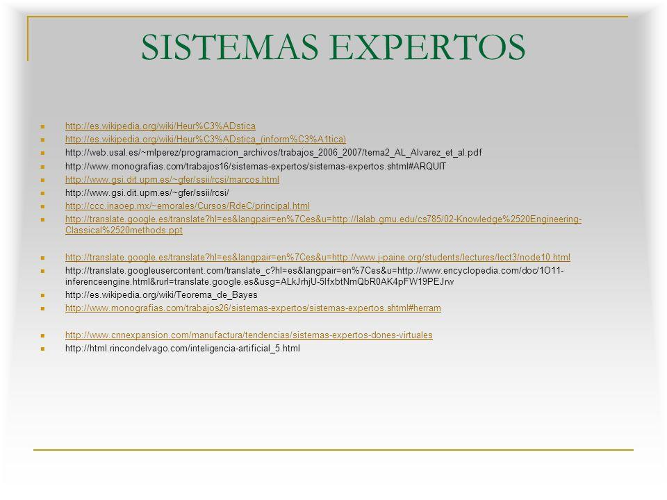 SISTEMAS EXPERTOS http://es.wikipedia.org/wiki/Heur%C3%ADstica