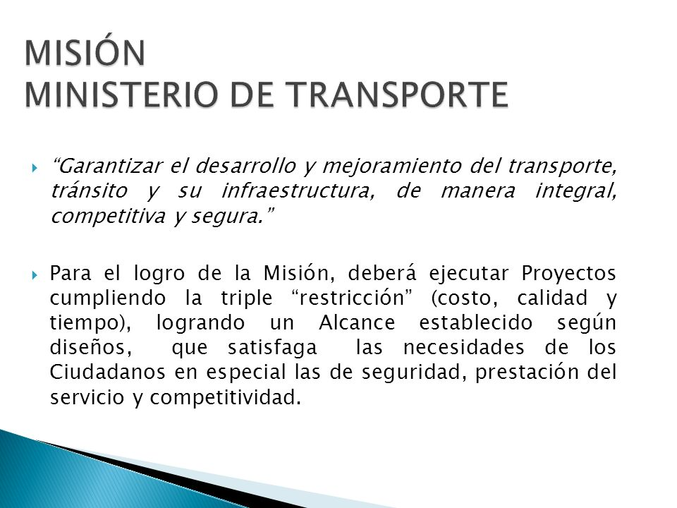 MISIÓN MINISTERIO DE TRANSPORTE