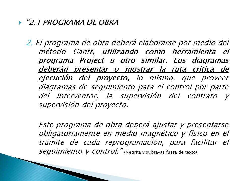 2.1 PROGRAMA DE OBRA