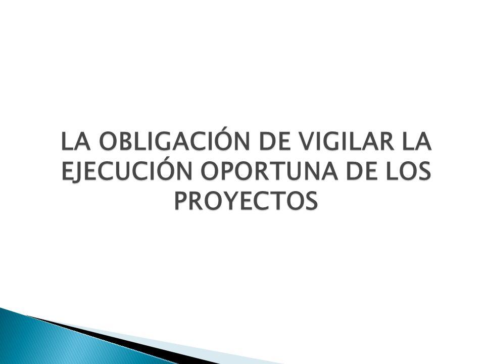 LA OBLIGACIÓN DE VIGILAR LA EJECUCIÓN OPORTUNA DE LOS PROYECTOS