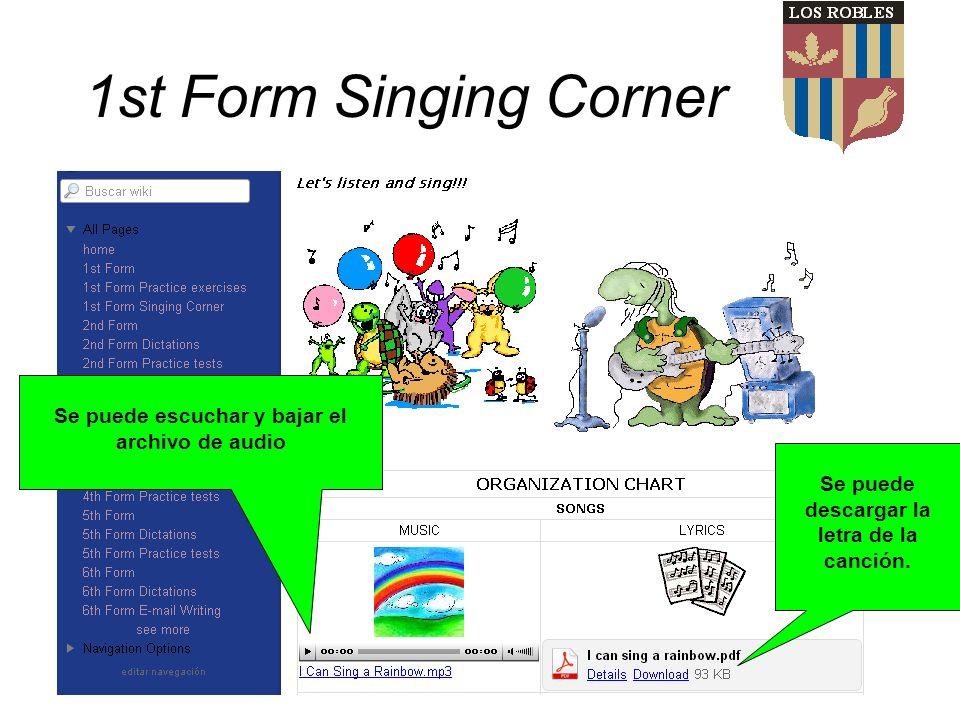 1st Form Singing Corner Se puede escuchar y bajar el archivo de audio