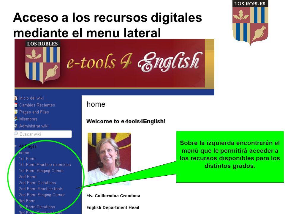 Acceso a los recursos digitales mediante el menu lateral