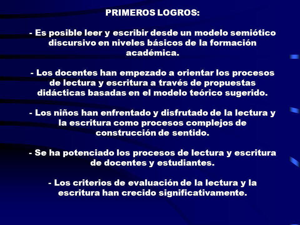 PRIMEROS LOGROS: - Es posible leer y escribir desde un modelo semiótico discursivo en niveles básicos de la formación académica.