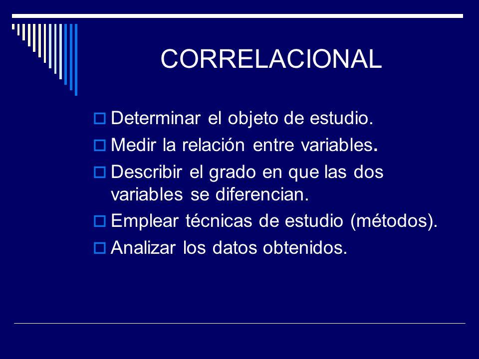 CORRELACIONAL Determinar el objeto de estudio.