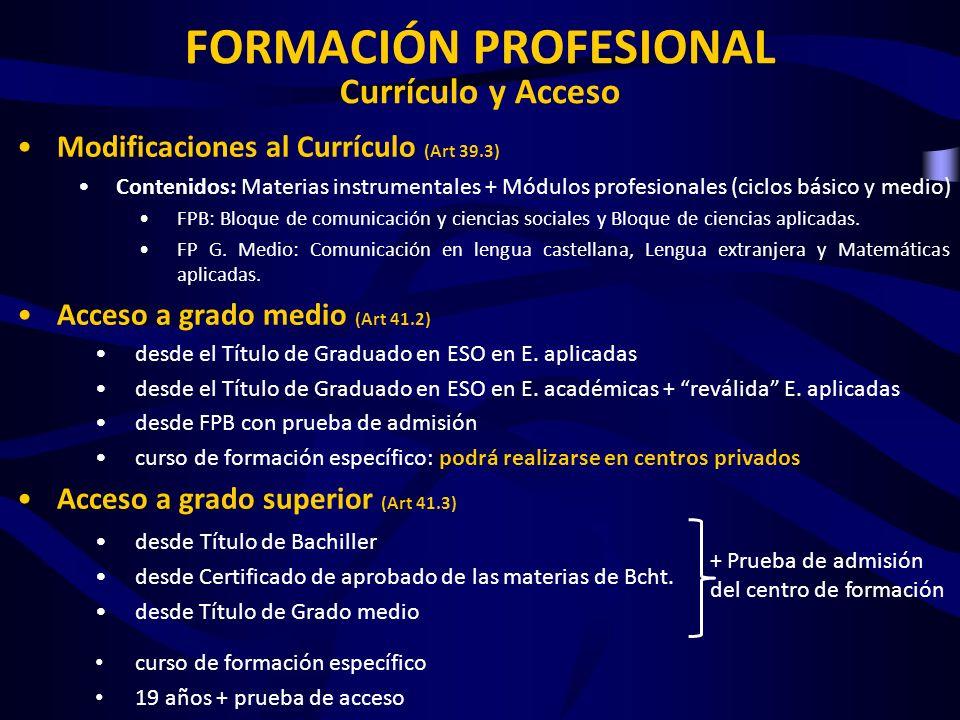 FORMACIÓN PROFESIONAL Currículo y Acceso