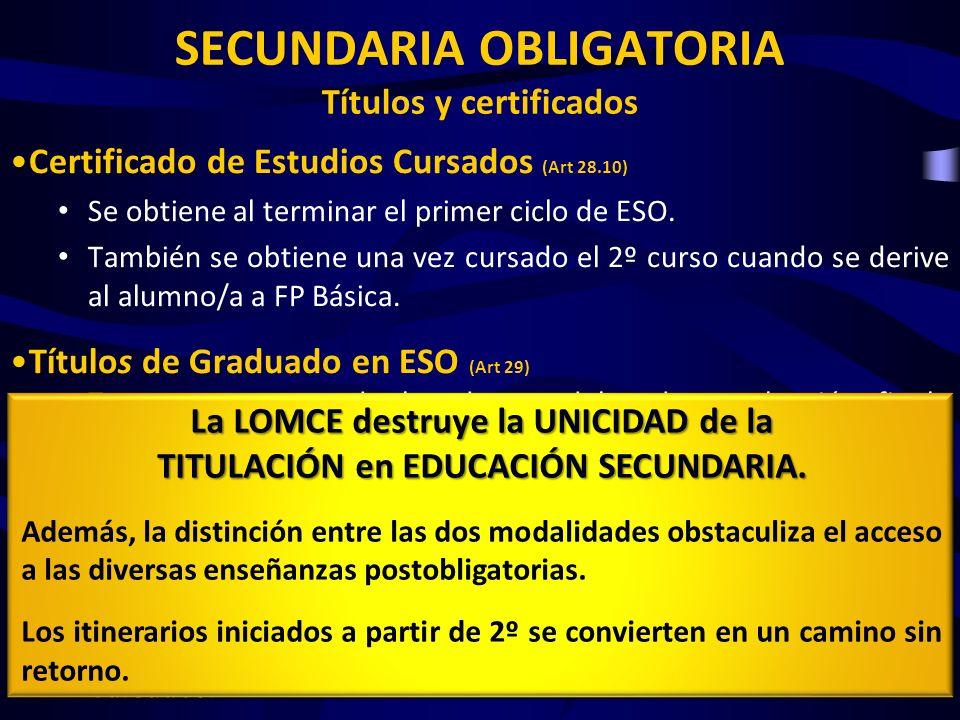 SECUNDARIA OBLIGATORIA Títulos y certificados