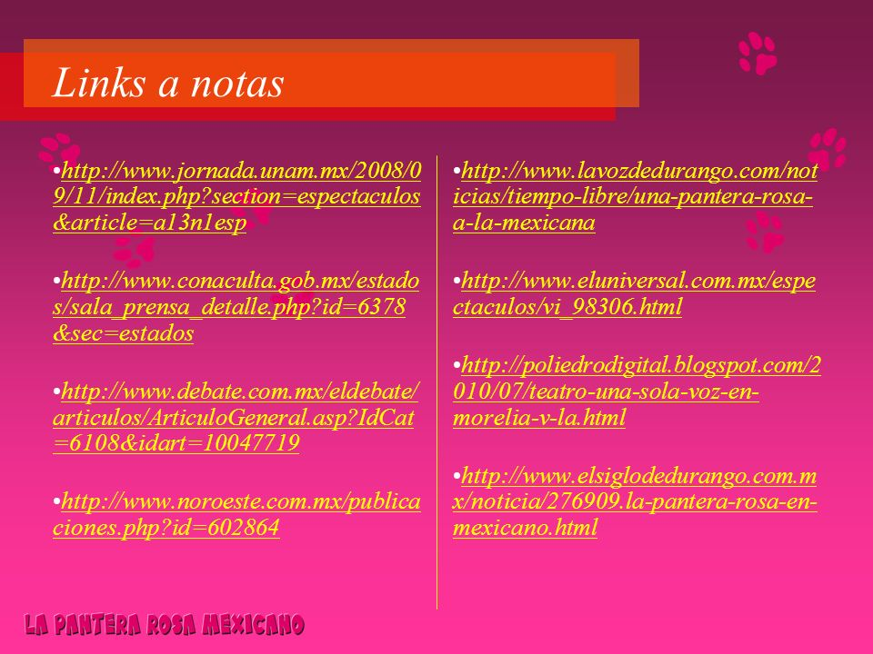 Links a notas http://www.jornada.unam.mx/2008/09/11/index.php section=espectaculos&article=a13n1esp.