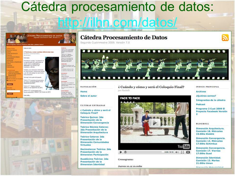 Cátedra procesamiento de datos: http://ilhn.com/datos/