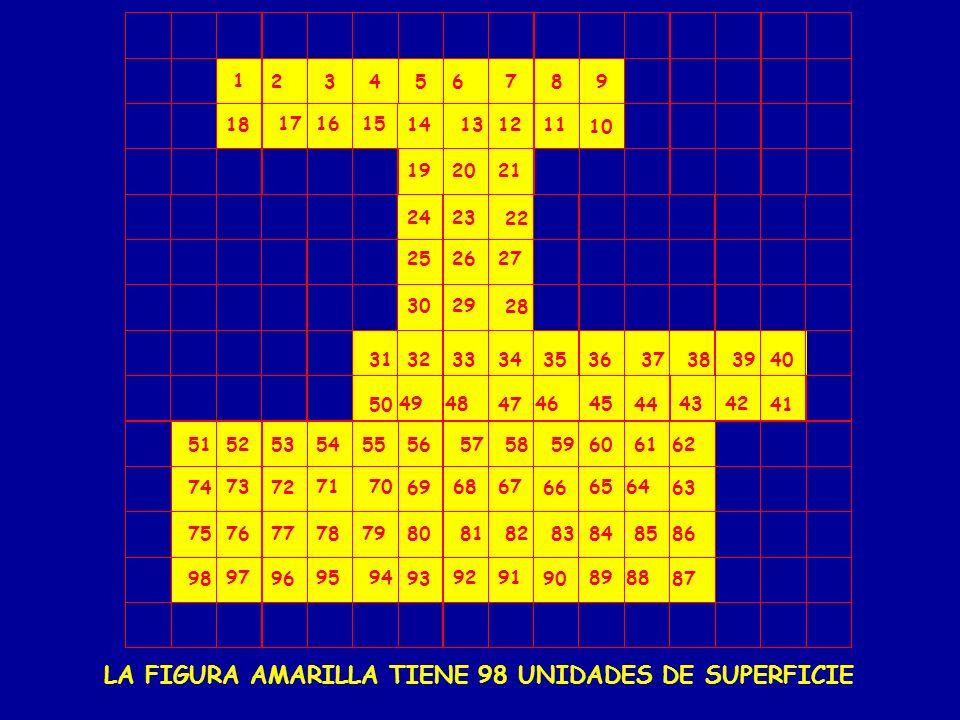LA FIGURA AMARILLA TIENE 98 UNIDADES DE SUPERFICIE