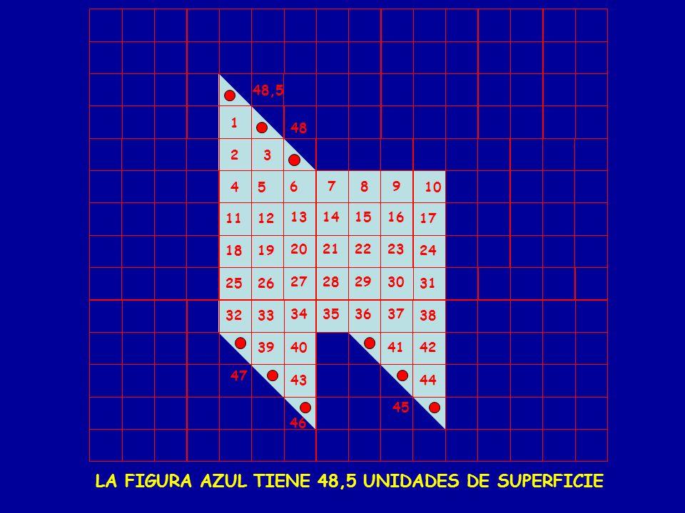 LA FIGURA AZUL TIENE 48,5 UNIDADES DE SUPERFICIE