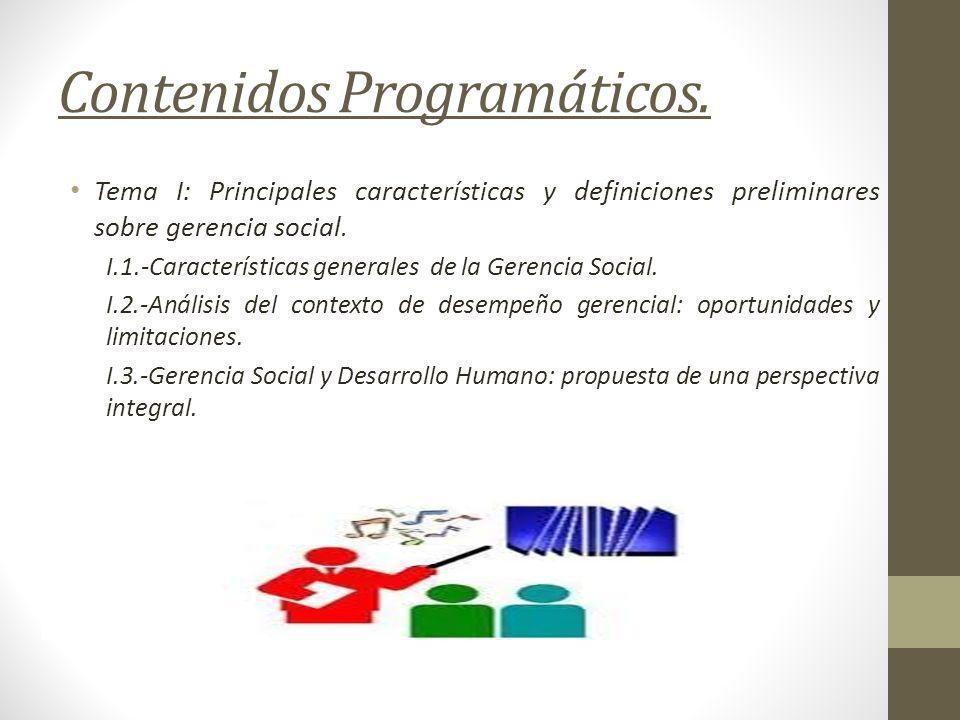 Contenidos Programáticos.
