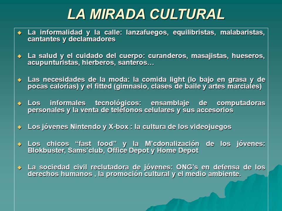 LA MIRADA CULTURAL La informalidad y la calle: lanzafuegos, equilibristas, malabaristas, cantantes y declamadores.