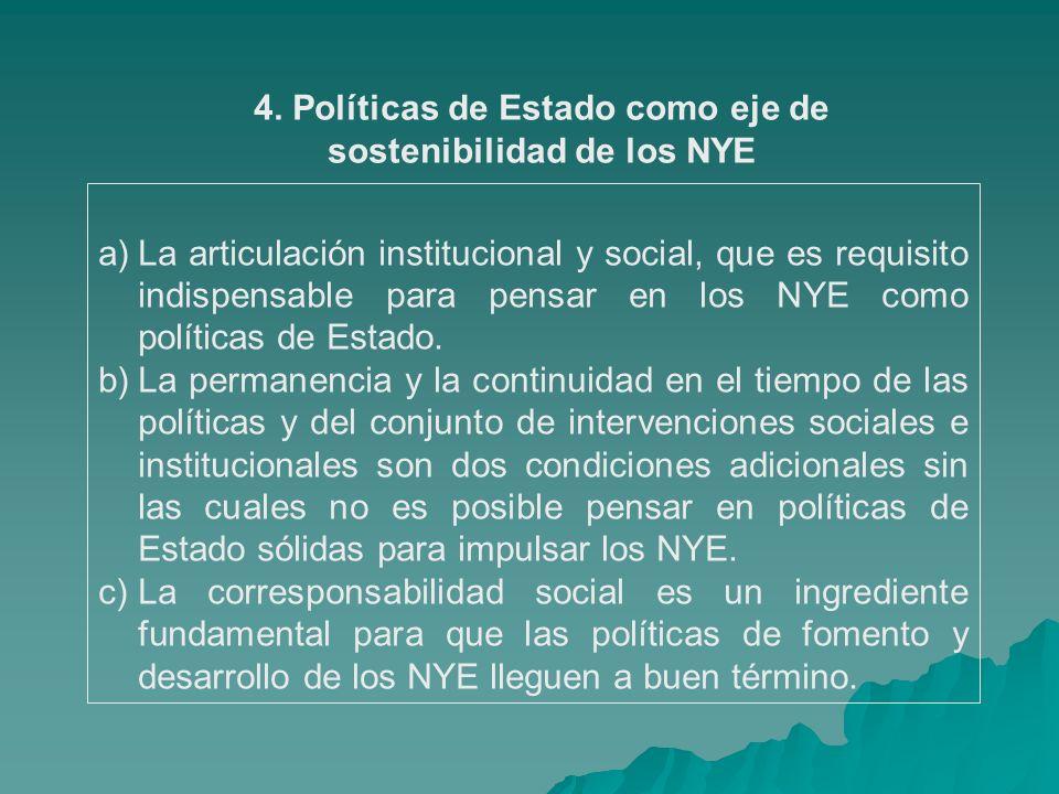 4. Políticas de Estado como eje de sostenibilidad de los NYE