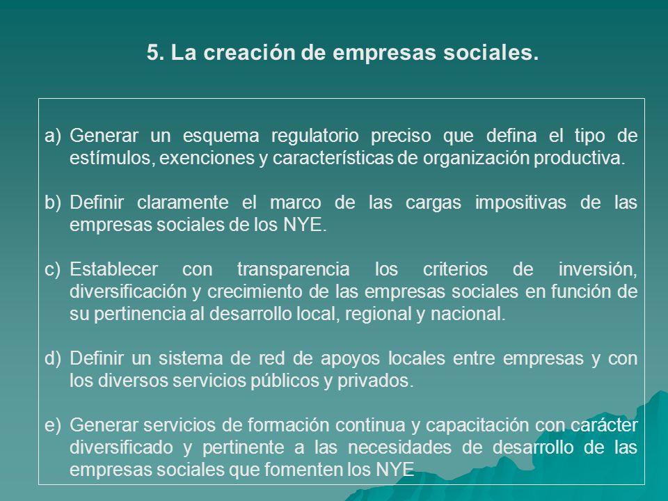 5. La creación de empresas sociales.