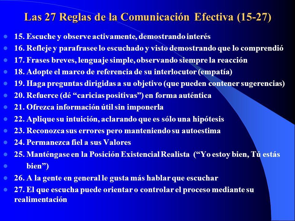 Las 27 Reglas de la Comunicación Efectiva (15-27)