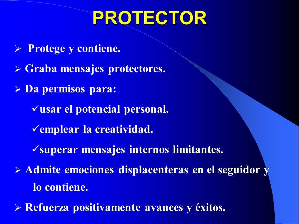 PROTECTOR Protege y contiene. Graba mensajes protectores.
