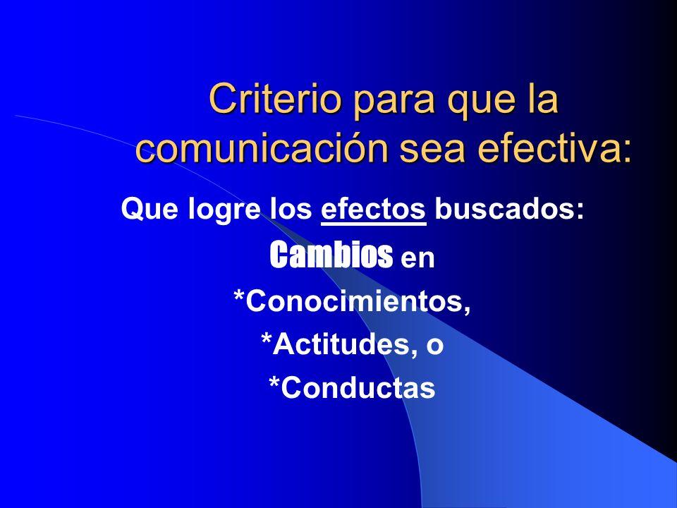 Criterio para que la comunicación sea efectiva: