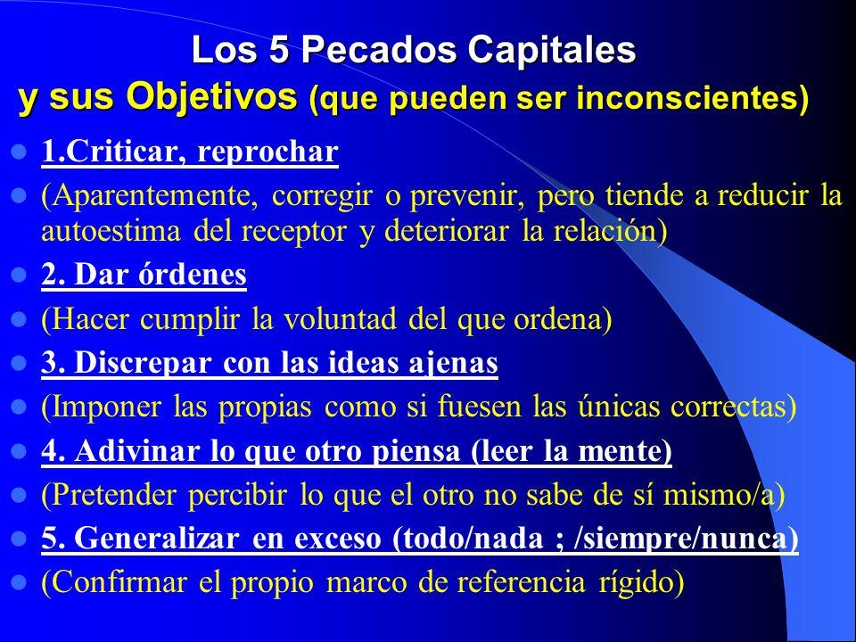 Los 5 Pecados Capitales y sus Objetivos (que pueden ser inconscientes)
