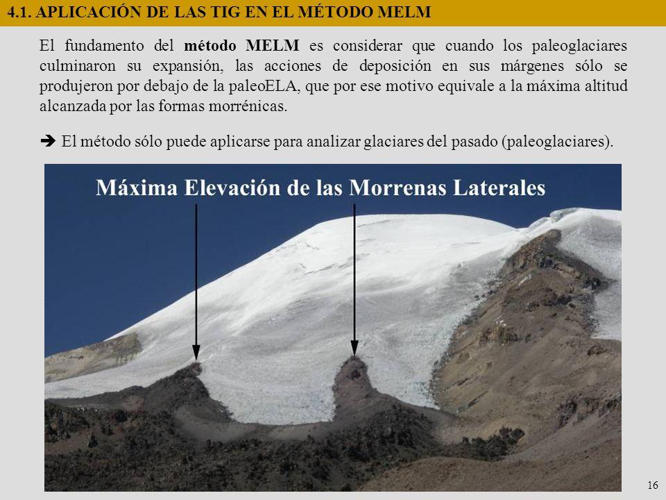 4.1. APLICACIÓN DE LAS TIG EN EL MÉTODO MELM