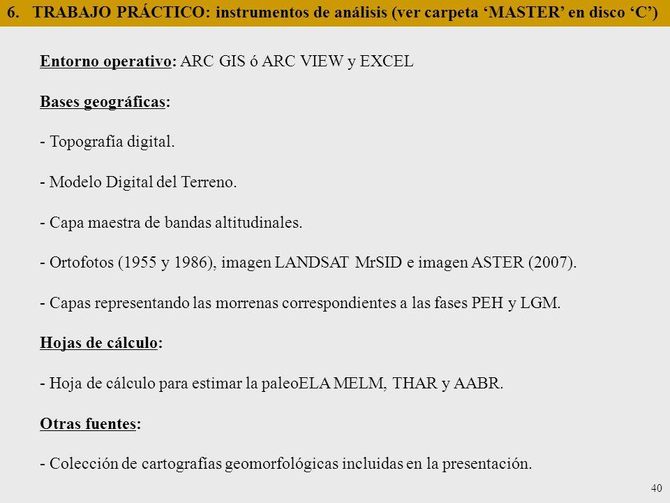 Entorno operativo: ARC GIS ó ARC VIEW y EXCEL Bases geográficas: