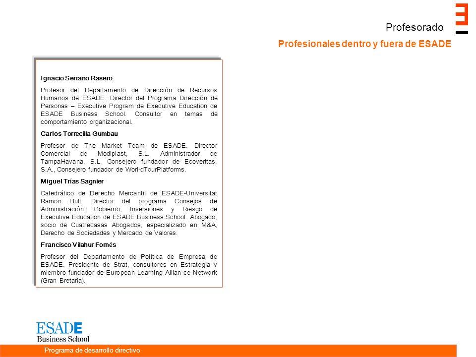 Profesorado Profesionales dentro y fuera de ESADE