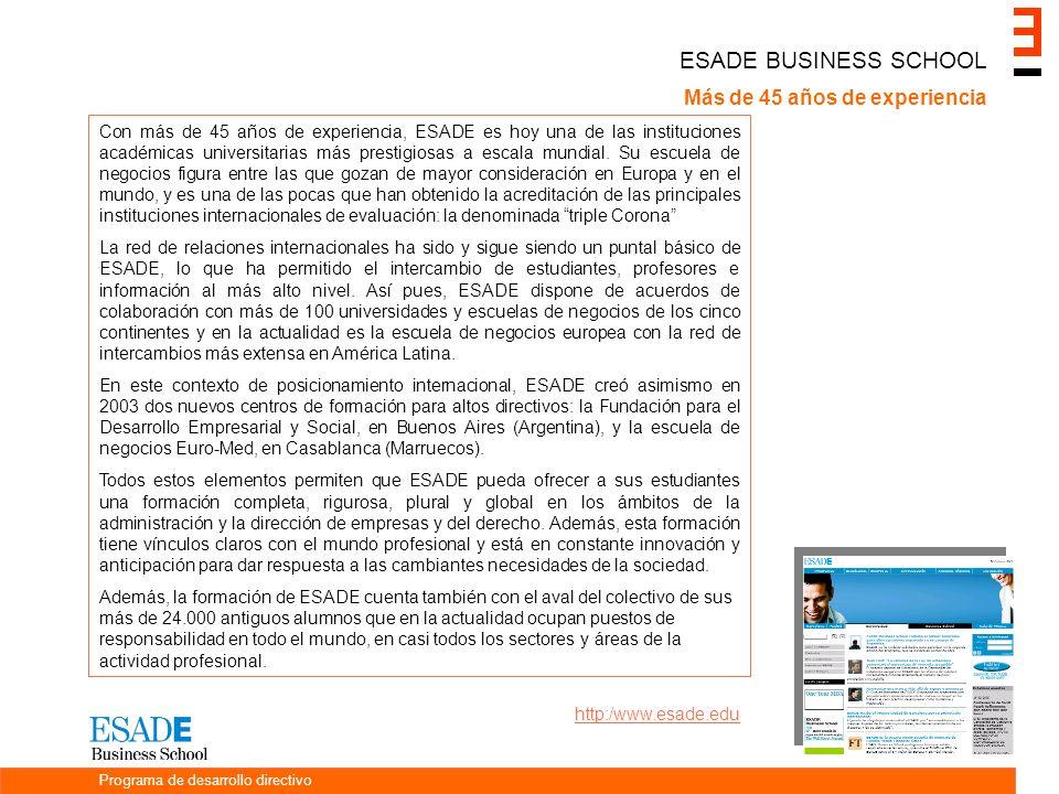 ESADE BUSINESS SCHOOL Más de 45 años de experiencia