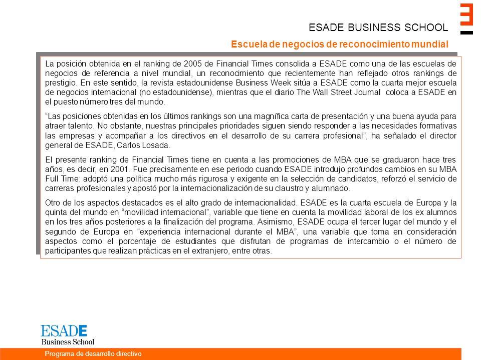 ESADE BUSINESS SCHOOL Escuela de negocios de reconocimiento mundial