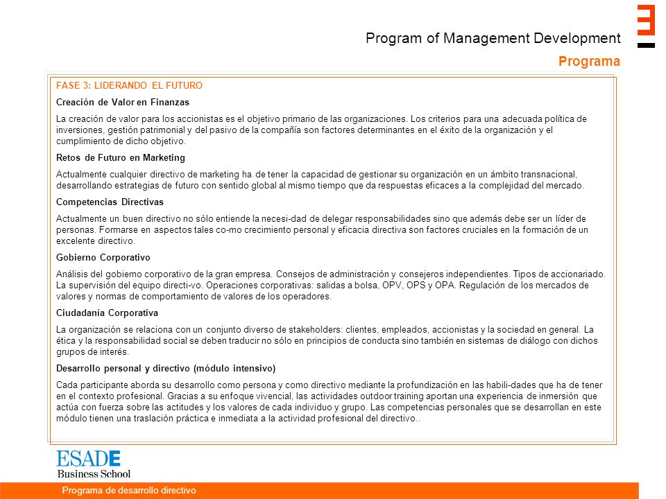 Program of Management Development