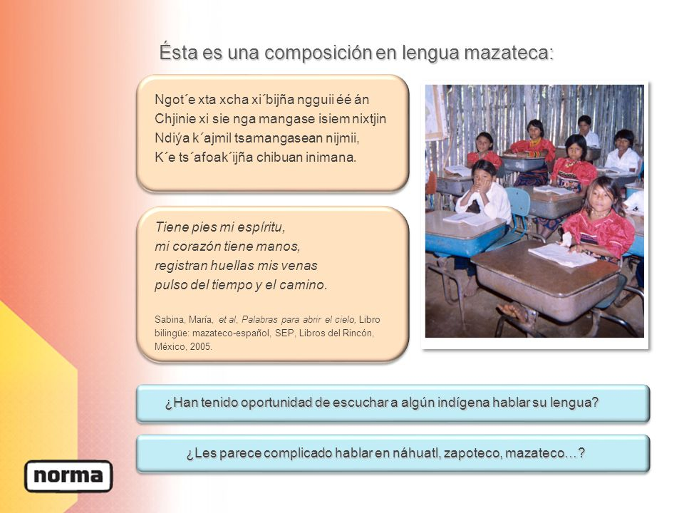 Ésta es una composición en lengua mazateca: