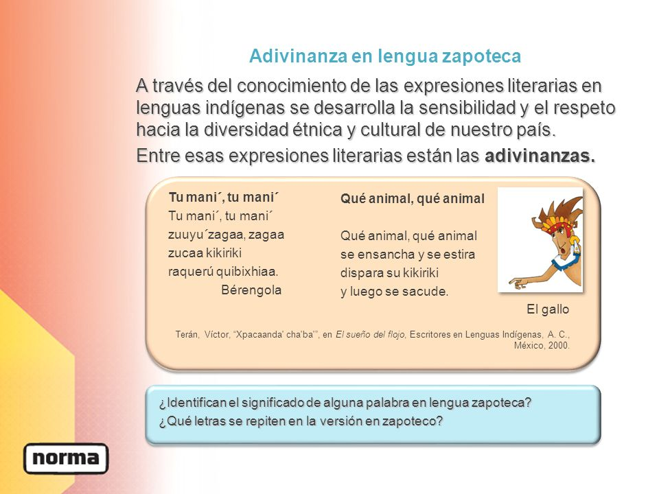 Adivinanza en lengua zapoteca