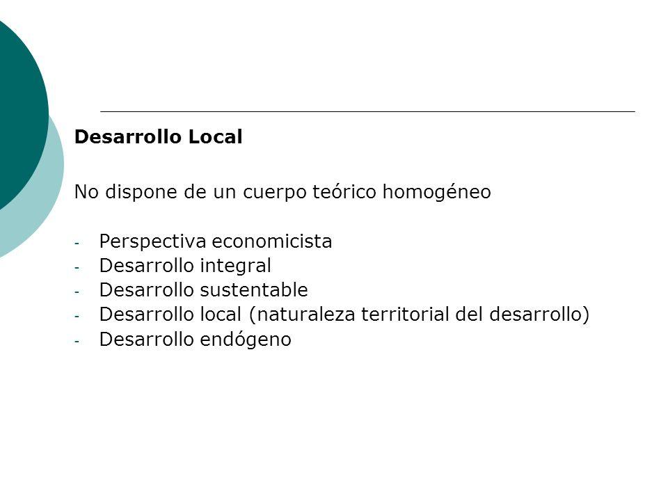 Desarrollo Local No dispone de un cuerpo teórico homogéneo. Perspectiva economicista. Desarrollo integral.