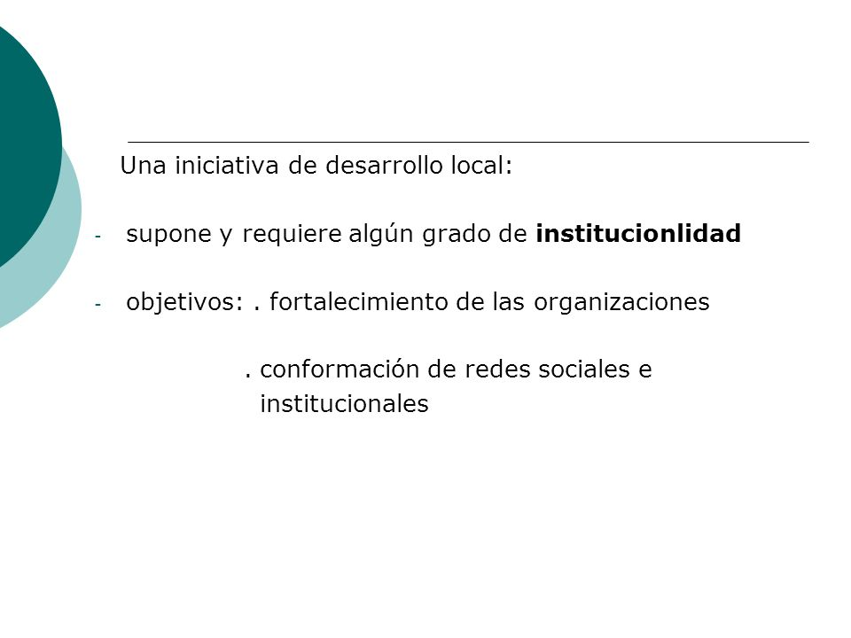 Una iniciativa de desarrollo local: