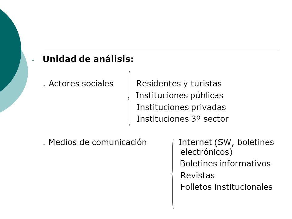 . Actores sociales Residentes y turistas