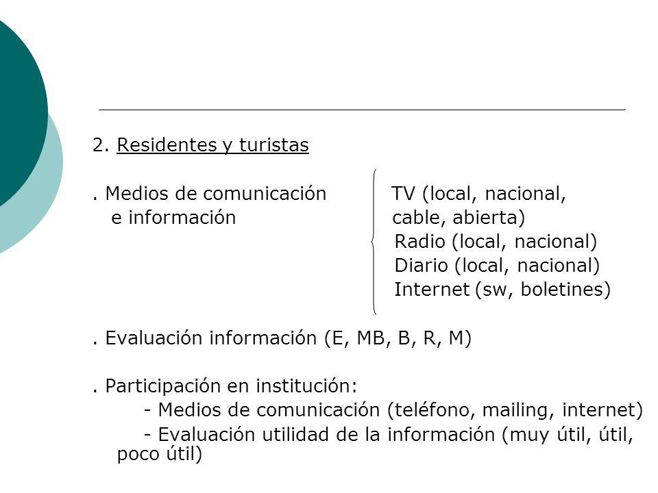 2. Residentes y turistas . Medios de comunicación TV (local, nacional, e información cable, abierta)