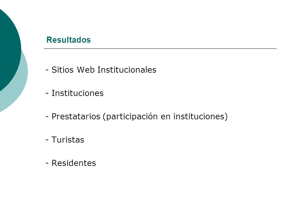 Resultados - Sitios Web Institucionales. - Instituciones. - Prestatarios (participación en instituciones)