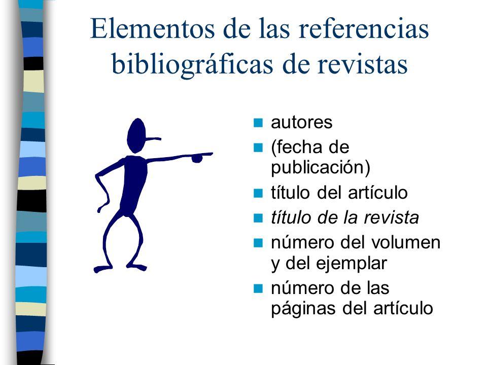 Elementos de las referencias bibliográficas de revistas