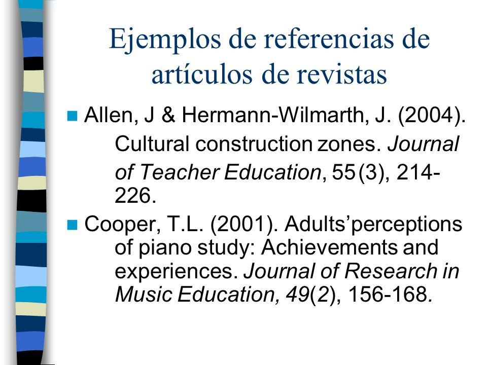 Ejemplos de referencias de artículos de revistas