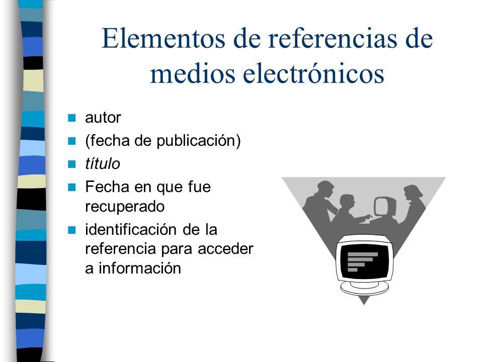 Elementos de referencias de medios electrónicos