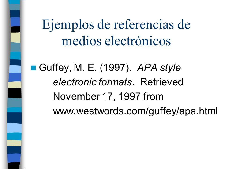 Ejemplos de referencias de medios electrónicos