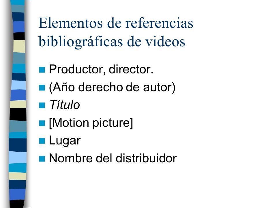 Elementos de referencias bibliográficas de videos