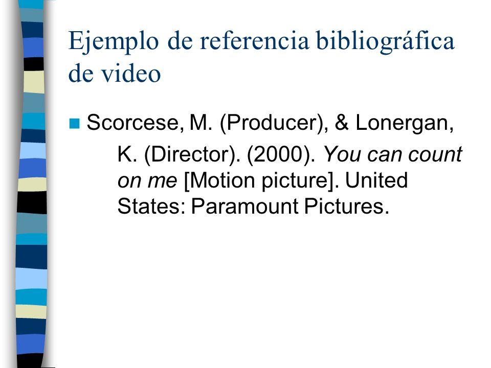 Ejemplo de referencia bibliográfica de video