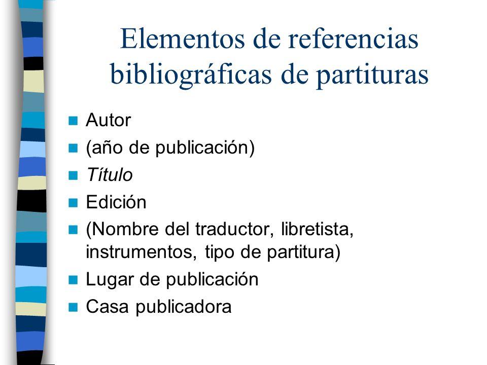 Elementos de referencias bibliográficas de partituras