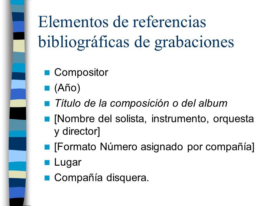 Elementos de referencias bibliográficas de grabaciones