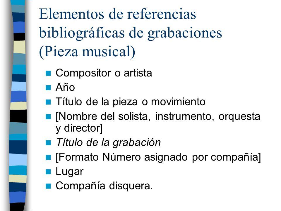 Elementos de referencias bibliográficas de grabaciones (Pieza musical)