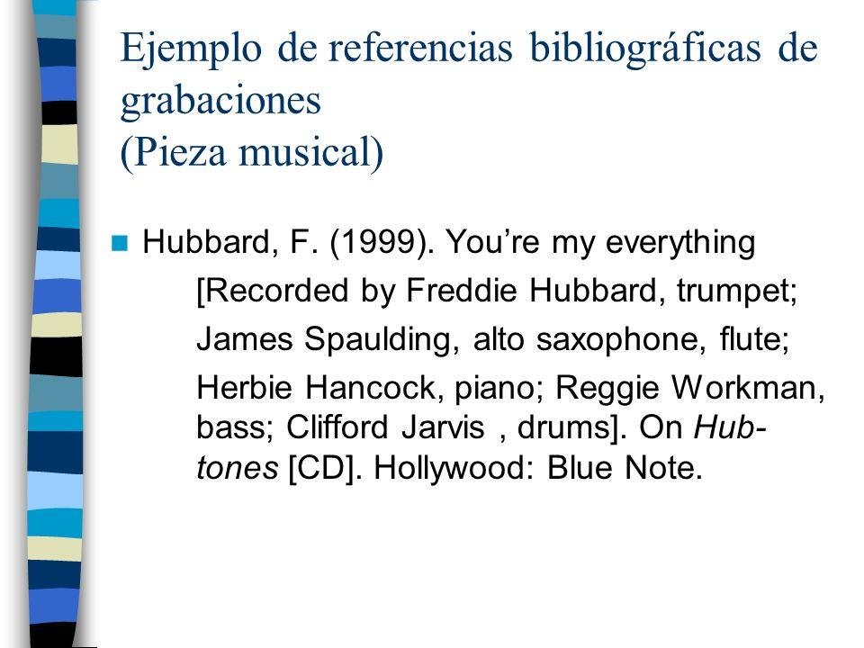 Ejemplo de referencias bibliográficas de grabaciones (Pieza musical)